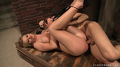 Bound blondie with big tits gets fucked and teased by her master