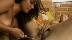 Curious young lesbians enjoy a moment of passionate lady loving