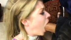 Blonde sex slave gets a facial after gagging on her master's cock