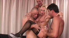 Vivian and Gina with two hunky dudes pounding away and they swap cum
