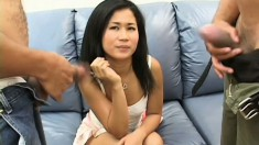 Exotic Asian slut Stephy Thai loves to choke on a monster cock