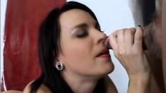 Playful brunette slut jams a dildo in her ass then sucks cock