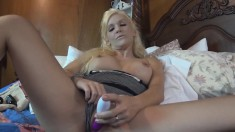 Naughty blonde housewife fucks a dildo and takes a big cock to orgasm