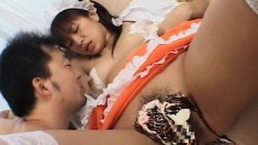 Busty Japanese girl is fucked and sucks over and over for a load