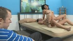 Persia Monir bounces on a huge python while her boyfriend watches