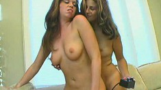 Wild lesbian lovers Danni and Fiona finger each other's fiery pussies