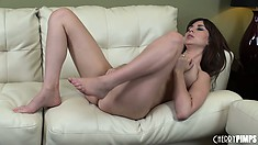 Noble and sexy stuff Shay Laren pets her fantastic shaved beaver