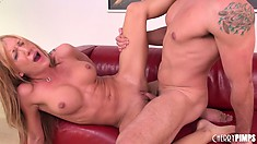 Kinky Amy Brooke pleasures herself upon her lover's big cock