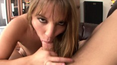 Pretty blonde gives a great blowjob only to get her pussy drilled hard