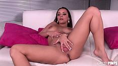 Liza Del Sierra rubs herself a bit before sucking on a big dick
