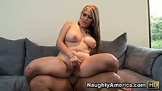 She fingers while she rides it in her ass, gets spooned and her big boobs flap