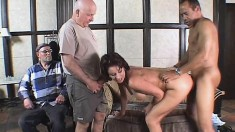 Naughty wife gives her ass up for drilling while her horny hubby watches
