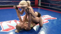 Nikky Thorne and Jessie Volt wrestler to win an orgasm on the mat