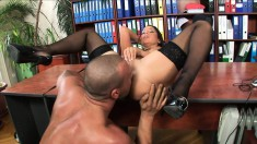 Buxom secretary in stockings Angelica Heart gets fucked at the office