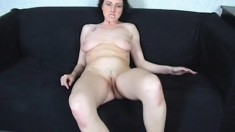Dark-haired cutie gets naked during casting and sucks a hard rod
