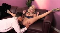 Slutty Romanian MILF spreads her legs to have her moist snatch drilled