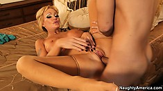Naughty blonde babe gets her huge tits groped and her pussy filled
