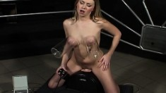 Anna gets on top of the sybian and fucks it until she finds pleasure