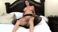 Distinctive milf in black lingerie Kaylynn has sex with her stepson