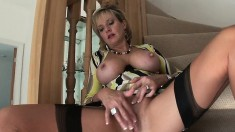 Lustful blonde wife with big tits seizes the chance to please herself