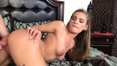 Enticing blonde girl delivers a sensual blowjob and gets pounded good