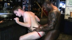 Pasty twink sucks a thick black cock and gets his ass fisted and fucked