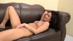 Exotic nympho with big boobs Amber buries a long dick inside her cunt
