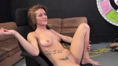 Sexy slender redhead Britney Jade braces herself for a deep drilling
