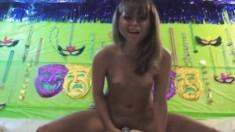 Petite brunette teen Riley Reid enjoys a big vibrator and a hard dick