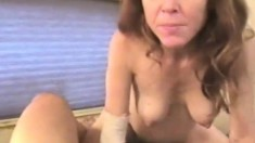 Preggy strawberry blonde Karen kneels to deepthroat a thick cock