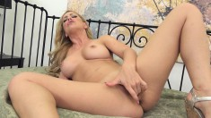 Stacked Blonde Goddess Buries Her Sexy Panties Inside Her Honey Hole