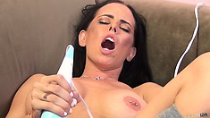 Brandy gives herself one hell of an orgasm from her trusty vibrator