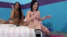 Jennifer White and Mischa Brooks naked in bed having a smoke and talking