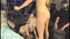 Two sultry blondes taste each other's cunts, have fun with dildos and share a cock
