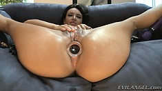 Insatiable babe tries to stretch her ass as much as possible