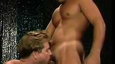 Lusty gay charmer puts his rigid cum gun in a hunk's tight asshole