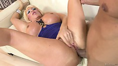 Both her tight holes get drilled and the hot blonde doesn't want it to end