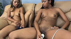 Ebony lesbians Fetish and Strokahontas try their new dildos and enjoy pure pleasure