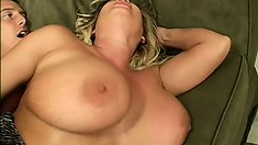 Huge knockers Rachel Love plays with herself before blowing and fucking