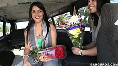 Sexy flower mamas bare their Latina buds for cash on the Bang Bus