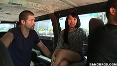 They find an Asian girl that gets in to go for a ride in the van