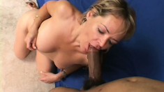 Nasty blonde cougar has a black stud taking care of her sexual desires