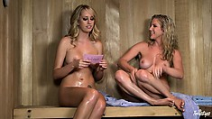 Sweet Blonde Southern Belles Meet In The Sauna And Have Girly Chat