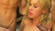 A wild blonde gets showered in sticky cum at the end of a fuckfest