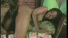 Two black strippers love to slide their tongues inside each other