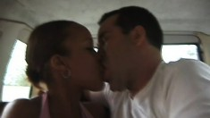 Skinny black babe with a great rack gets dirty with a white guy