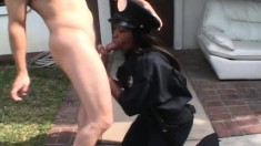 Big breasted black cop in fishnet stockings gets fucked by a white guy