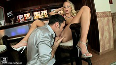 Gorgeous blonde with tiny tits and a spicy ass has a guy satisfying her desires