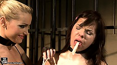 Mean princess attaches pins on Ginna's tongue and soft nipples