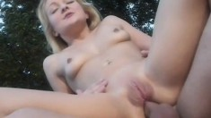 Blonde hottie jumps on top of a long cock and gets her ass fucked deep
